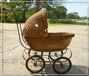 Baby doll wicker buggy tan