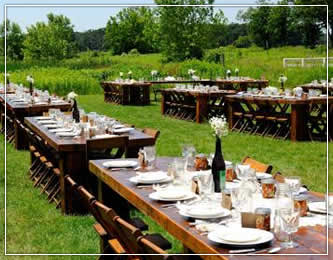 Banquet Tables and Folding Tables for Rustic weddings, partiers and social gatherings in Wisconsin